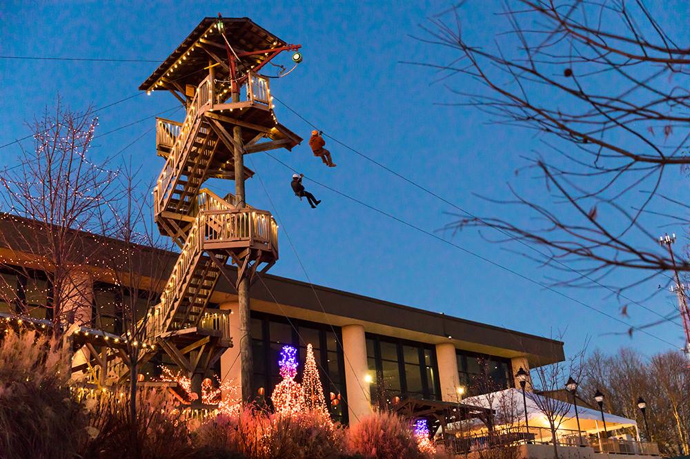Screaming Raptor Zip Lines During ChristmasTown