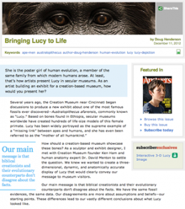 "Check out Doug Henderson's article about ""Bringing Lucy to Life"""