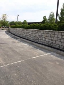 New wall in parking lot