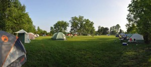 Family Camping field of tents