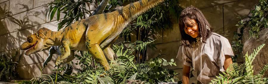 Dinosaur with girl