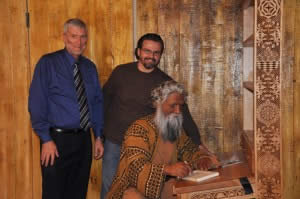 Ken Ham and Doug Henderson with animatronic Noah