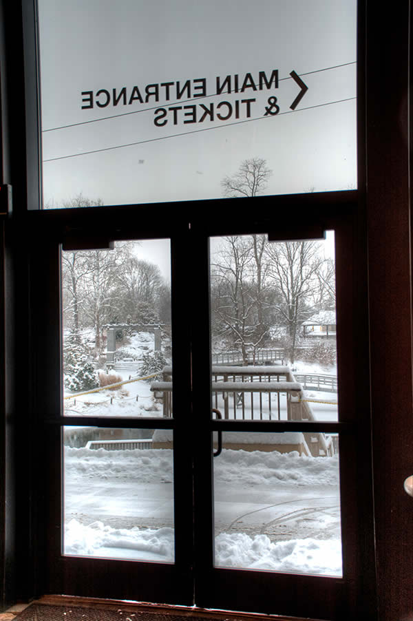 Main entrance in snow
