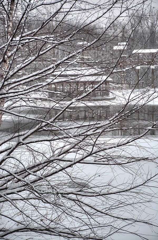 Lake and grounds in snow