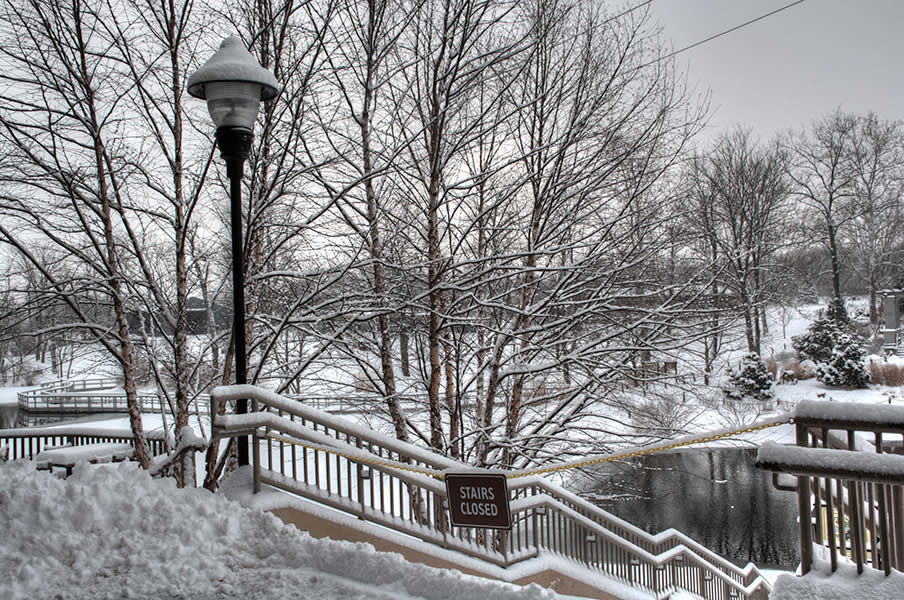 Grand stairs in snow