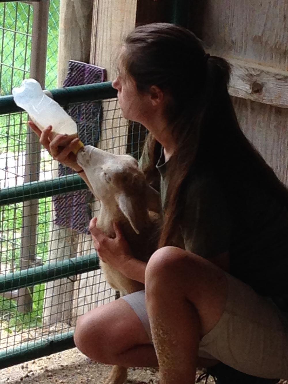 Leanne bottle feeding Alvin