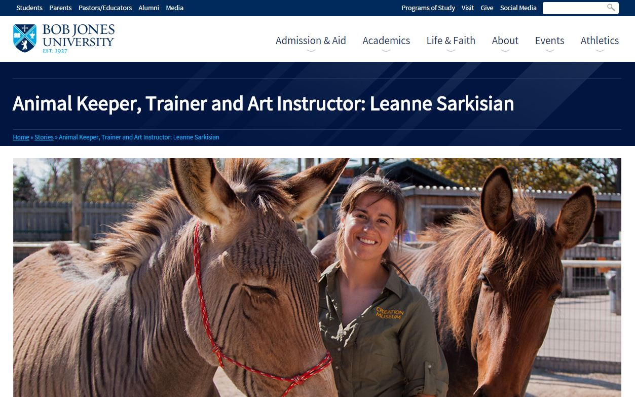 Screen Shot of Leanne on Bob Jones' Website