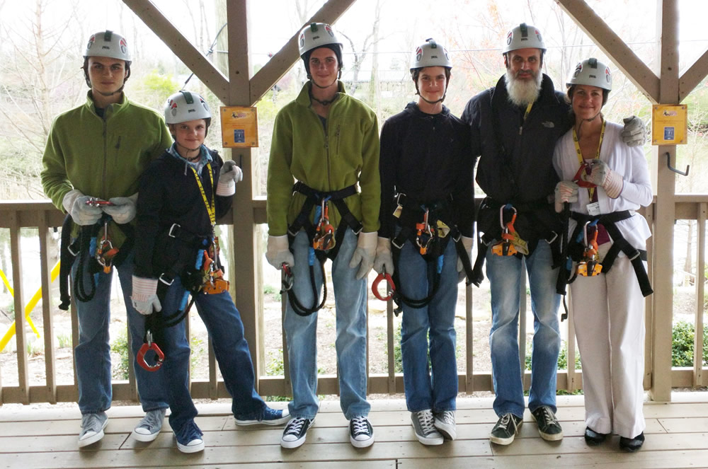 Wild Family at the Zip Lines