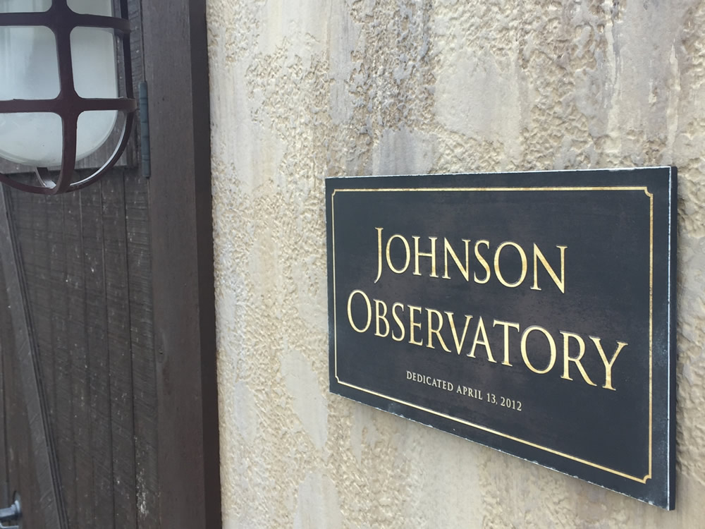 Johnson Observatory Dedicatory Plaque