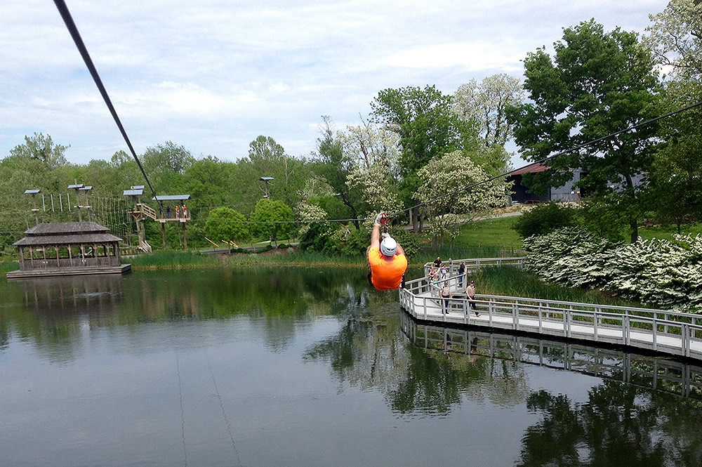 Zipping over the Lake at the Creation Museum