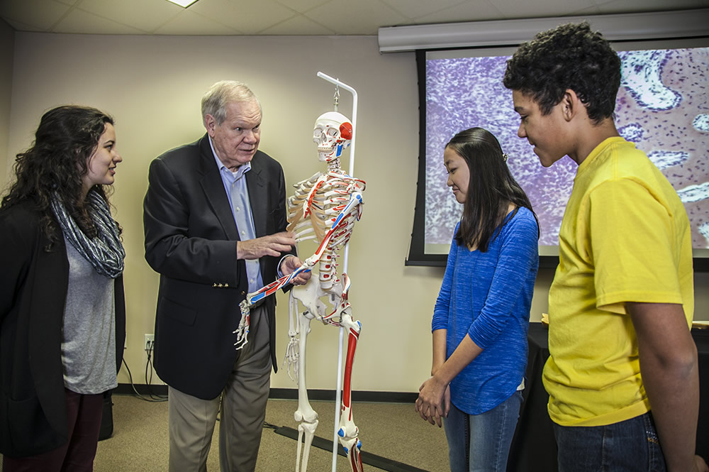 Dr. Menton, students and skeleton