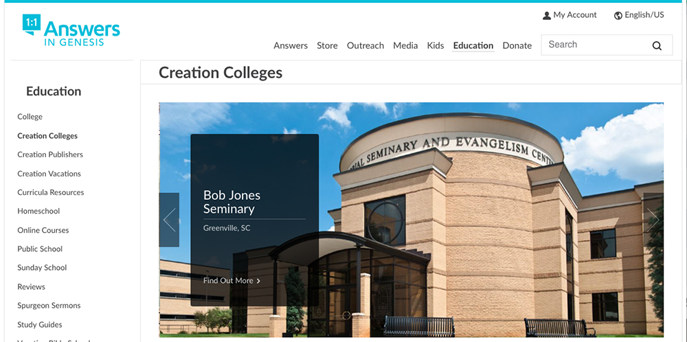 CreationColleges.org Homepage