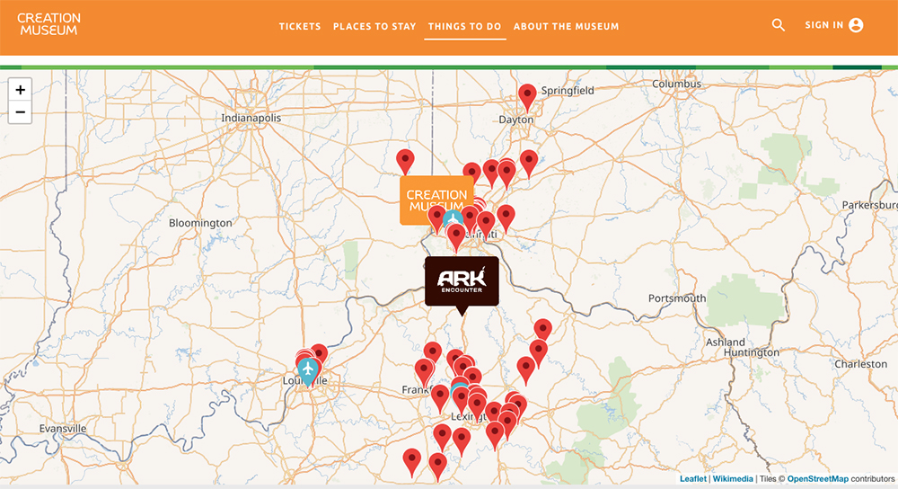Creation Museum Nearby Attractions Map