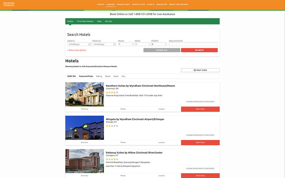 Creation Museum Hotel Booking