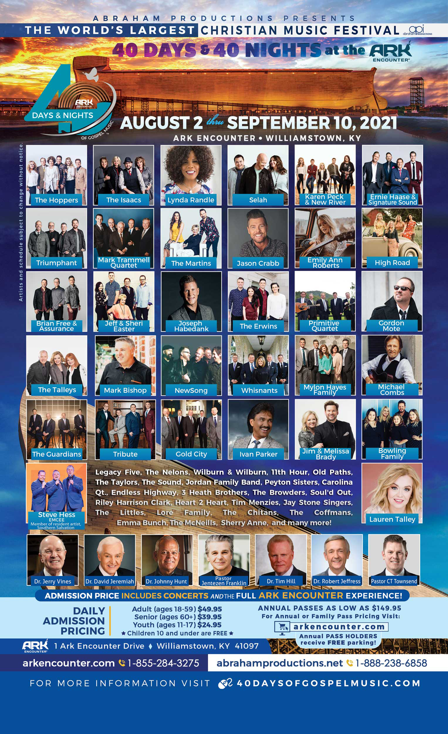 40 Days and 40 Nights of Gospel Music at the Ark Encounter Lineup