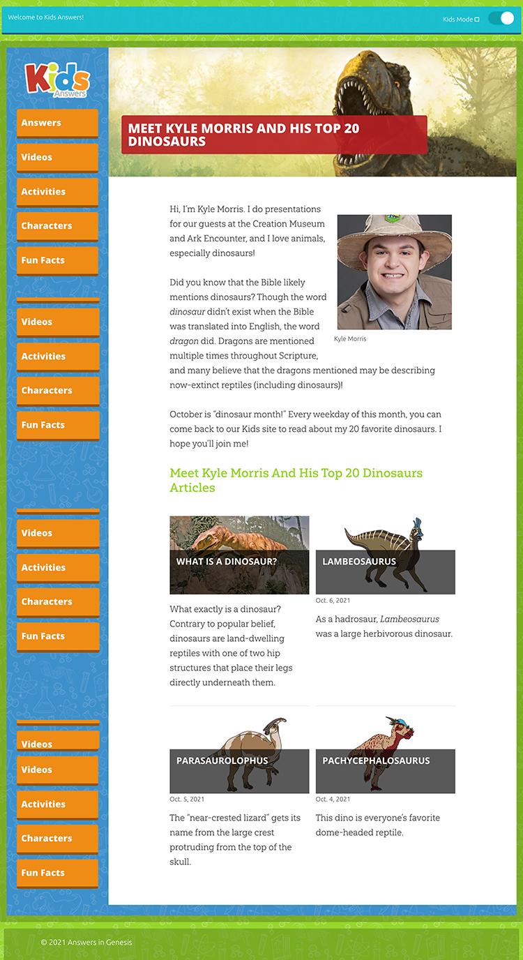 Kids Answers Dinosaur Page