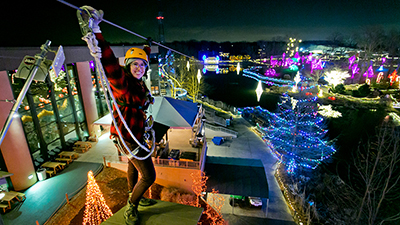 Experience the Screaming Raptor Zip Lines During ChristmasTown