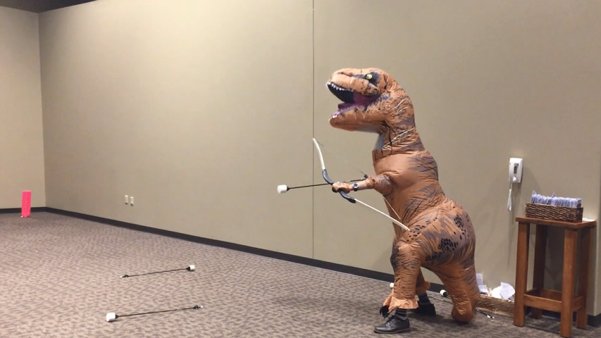 T-rex Plays Extreme Archery